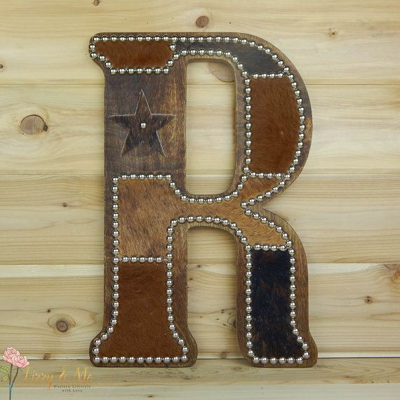 Cowhide Wall Letter R - Western Home Decor, Wall Hanging ...