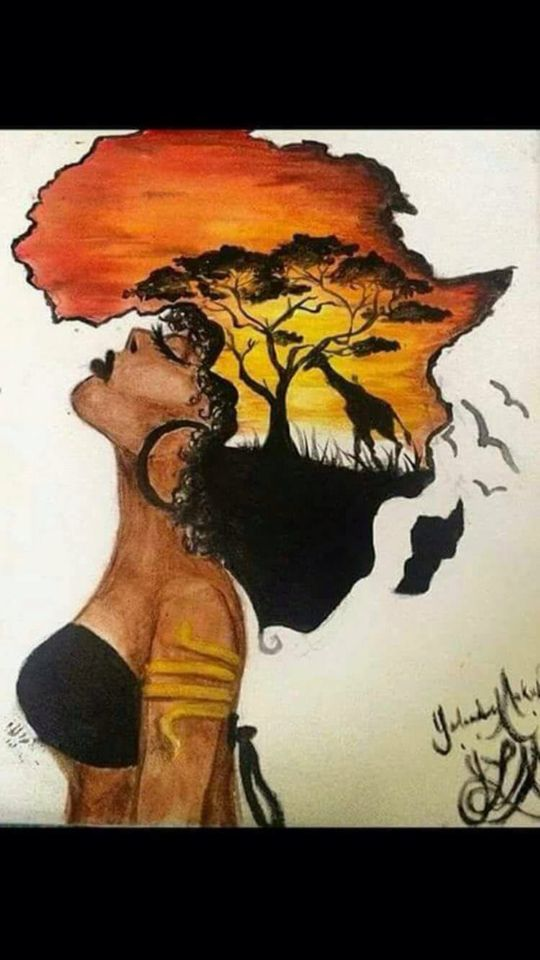 c62d02a24 Artwork Lady's hair in the shape of the continent of Africa | Art ...