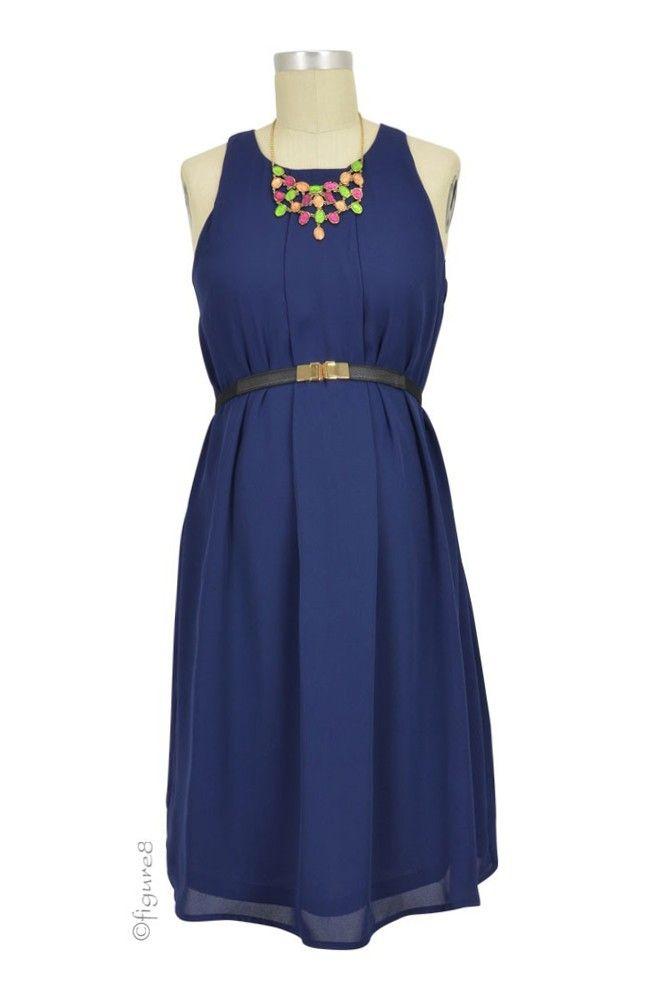 a898ec675e5065 Carmene Sleeveless Nursing Dress with Belt in Navy by Spring Maternity with  free shipping