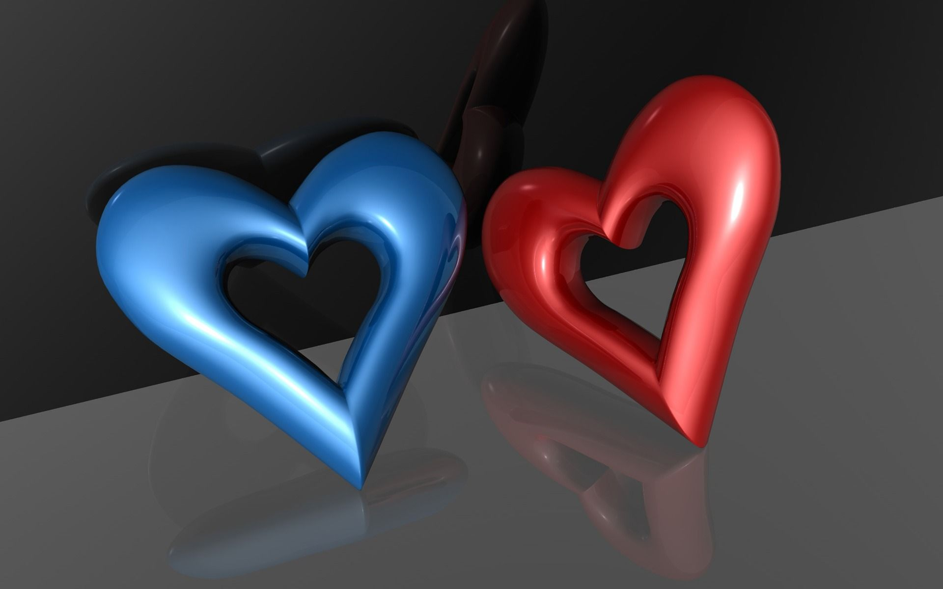 free wallpapers red and blue hearts wallpaper