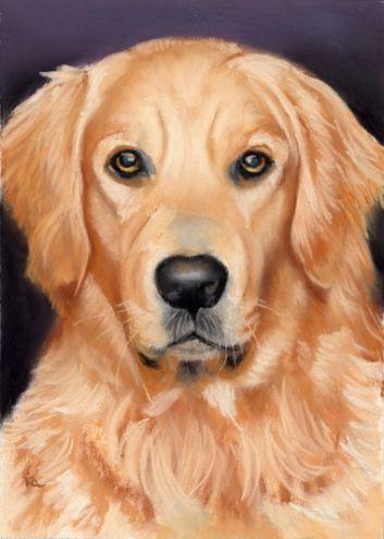 Golden Retriever Pet Portrait Sold Original Art Painting By Ria
