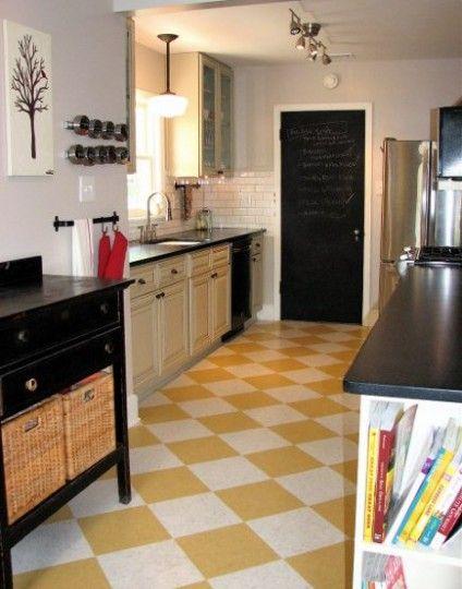 gold and white checkerboard kitchen floor | Flooring | Pinterest ...