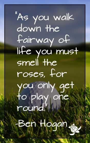 As You Walk Down The Fairway Of Life You Must Smell The Roses For Simple Golf And Life Quotes