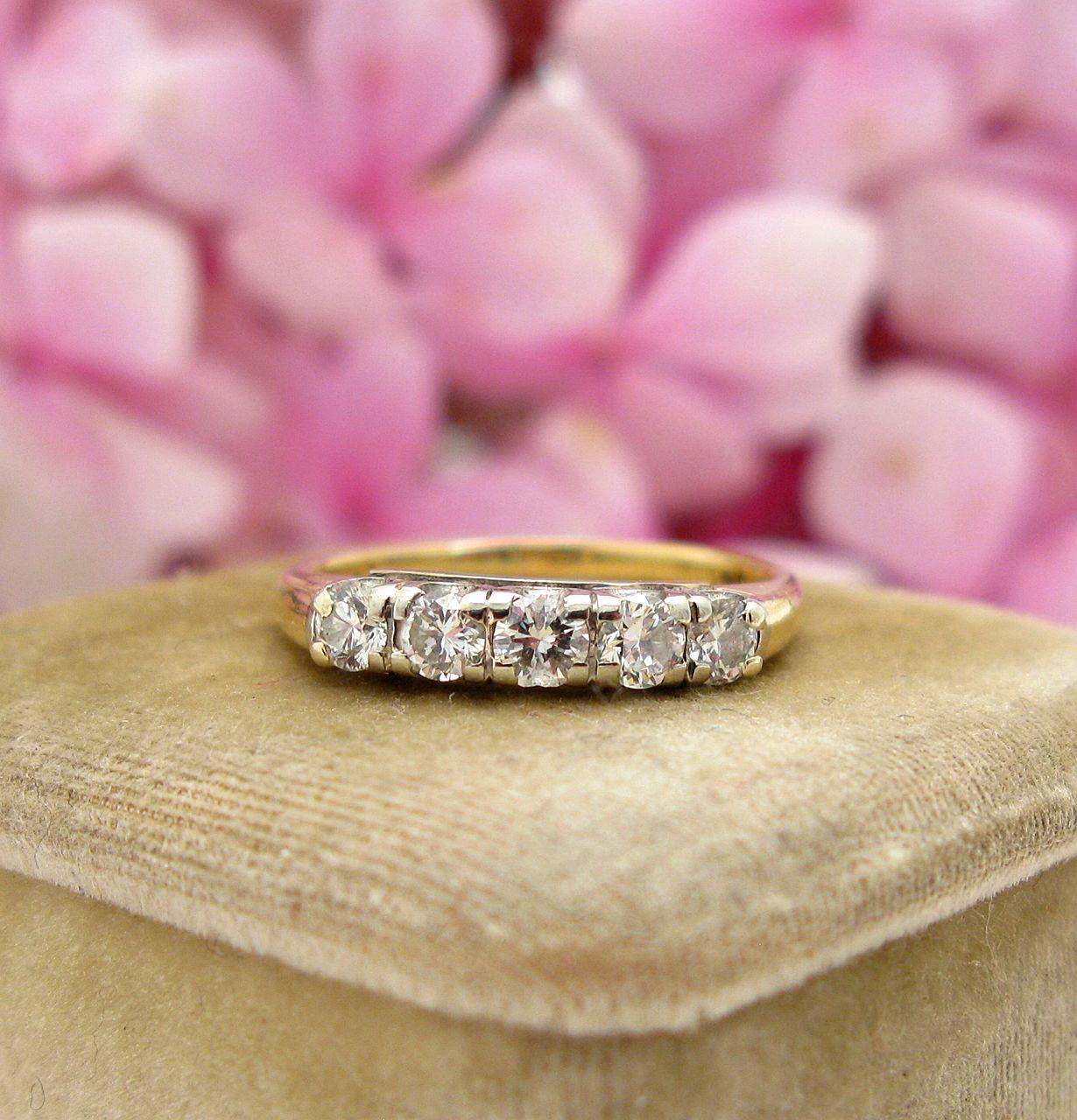 Vintage Diamond Wedding, Stacking Band .44 cwt | Art deco era, Gold ...