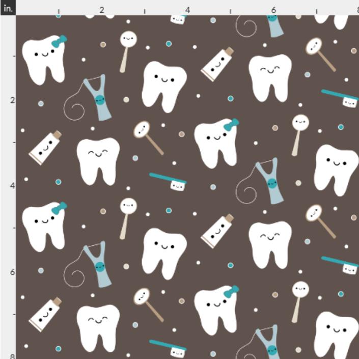 Screenshot Happy Teeth & Friends Brown & Teal fabric