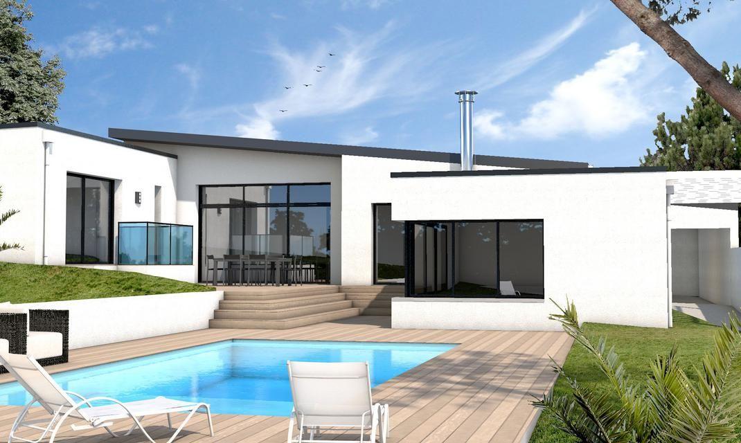 Maison moderne s jour d plafonn auray in 2019 id e maison maison moderne constructeur - Maison cubique plain pied ...