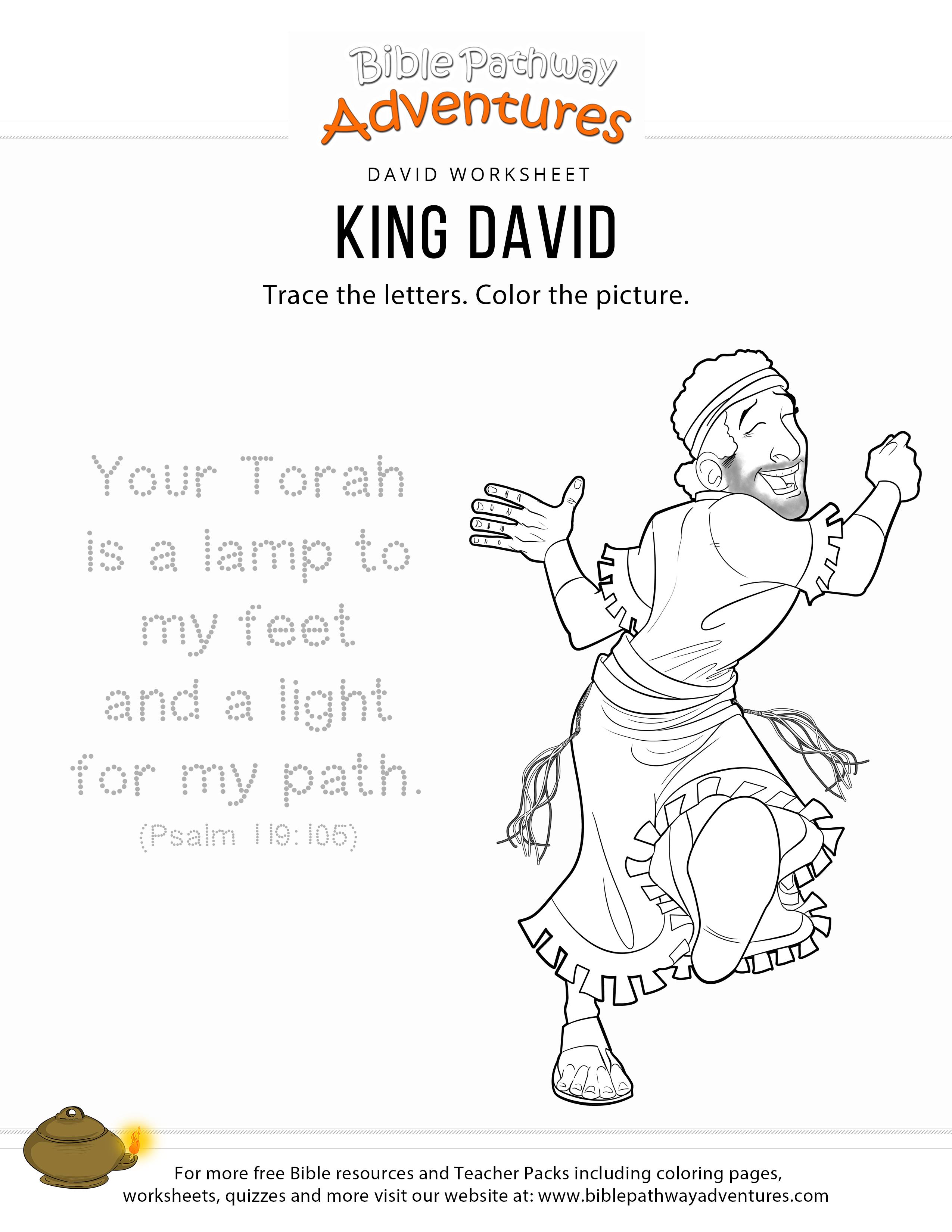 Printable King David Bible Coloring Page