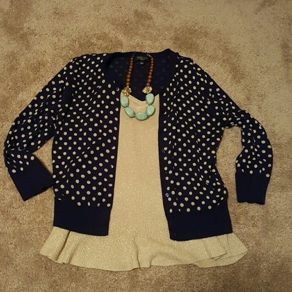 Navy and gold sweater and tank set | Gold sweater, Polka dot ...
