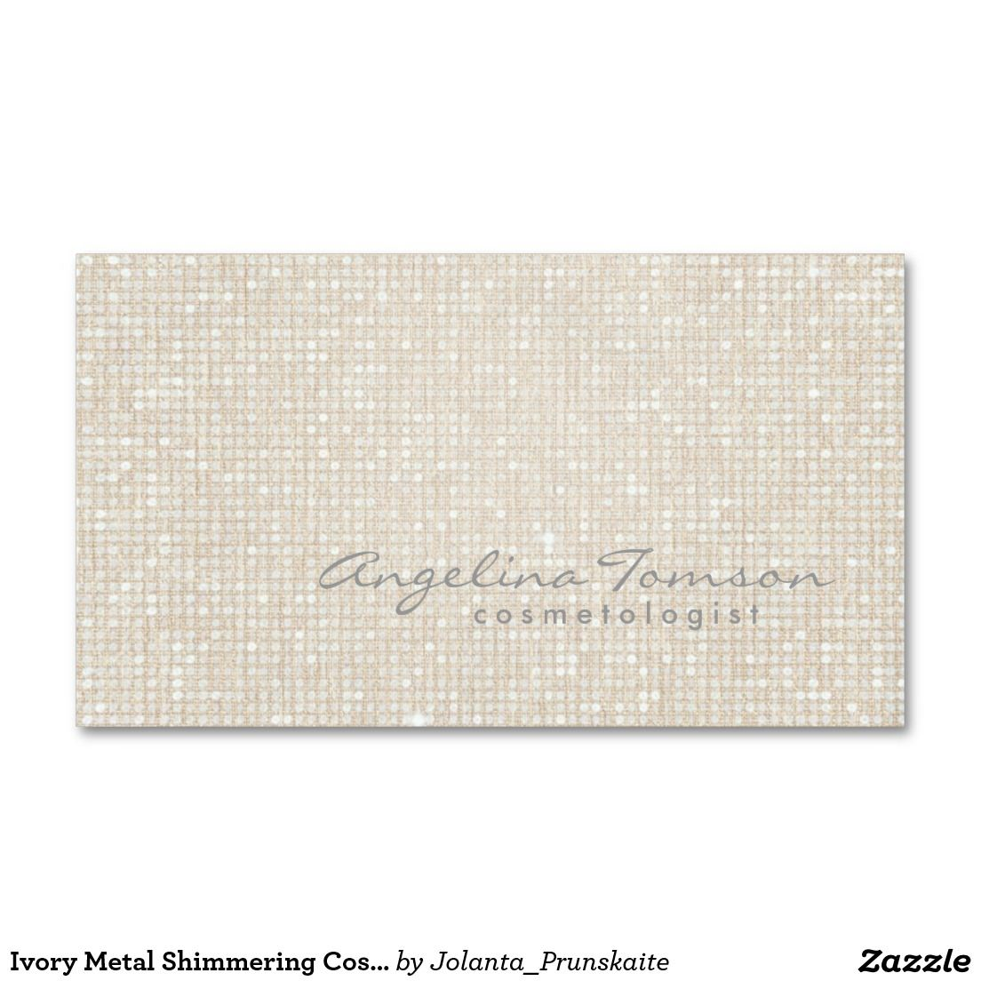 Ivory Metal Shimmering Cosmetologist Card Double-Sided Standard Business Cards (Pack Of 100)