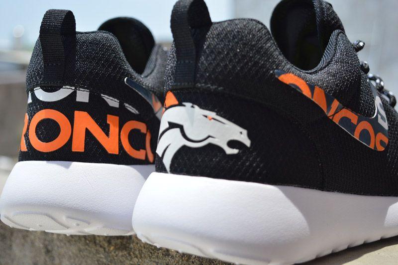 buy popular cd396 3dc50 New Release Nike Roshe Running Denver Broncos Black Orange Shoes Men Women  Kids