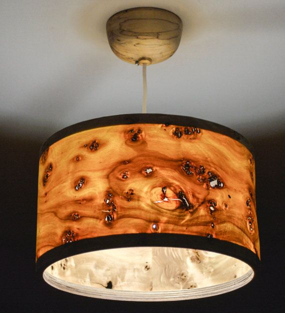 Wooden Veneer Lampshade Beautiful Grain Pattern Pendant Lamp Unique Design Home Decor Light Scandinavian Cozy
