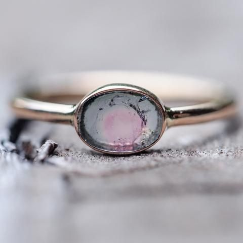 Watermelon Tourmaline Slice Ring in Rose Gold Gardens of the Sun