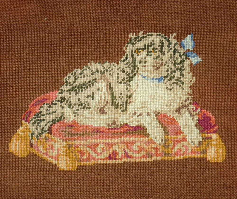 Antique Victorian Berlin Woolwork Embroidery King Charles Spaniel