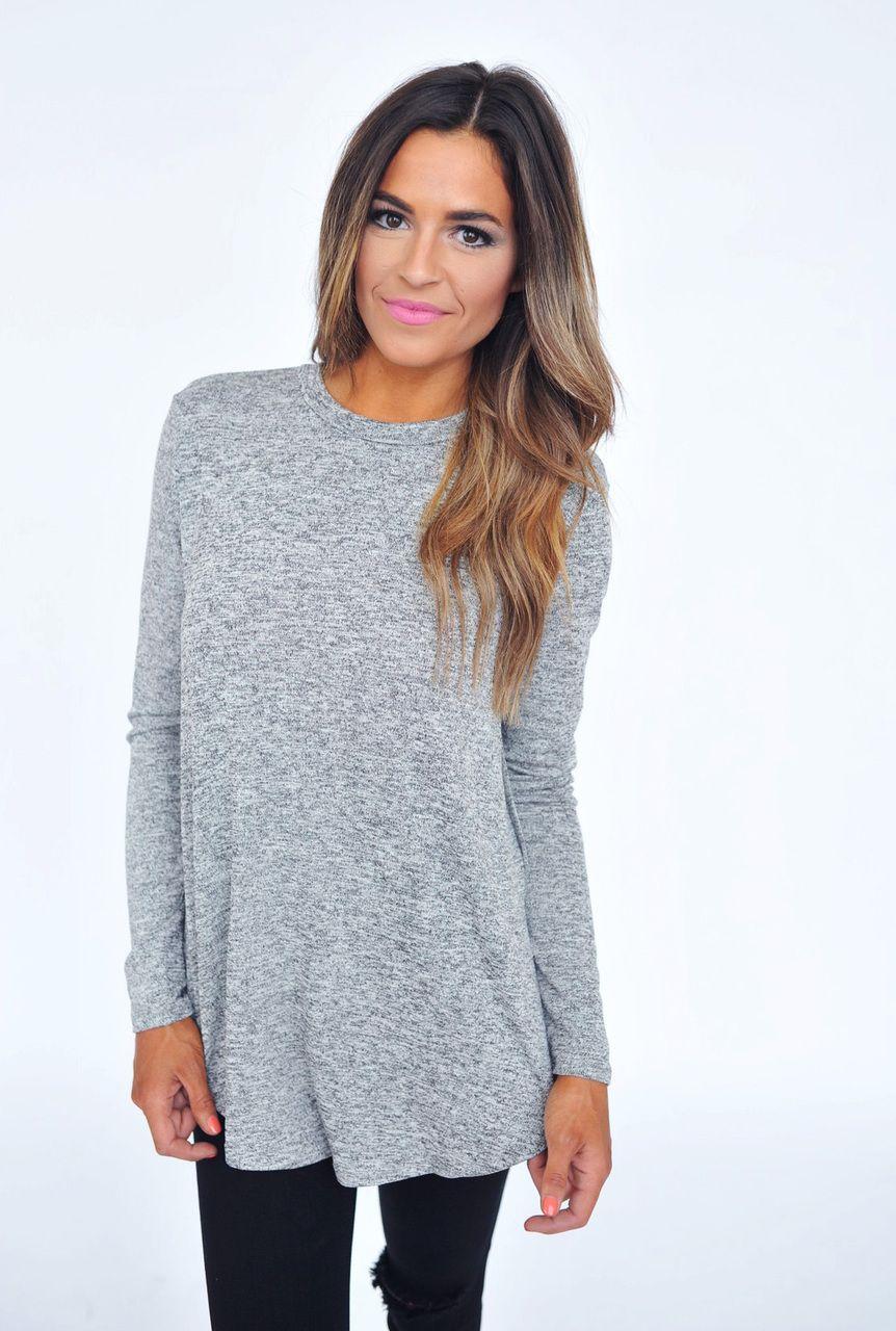b86280ce56ec4 Grey Knit Side Slit Top - Dottie Couture Boutique
