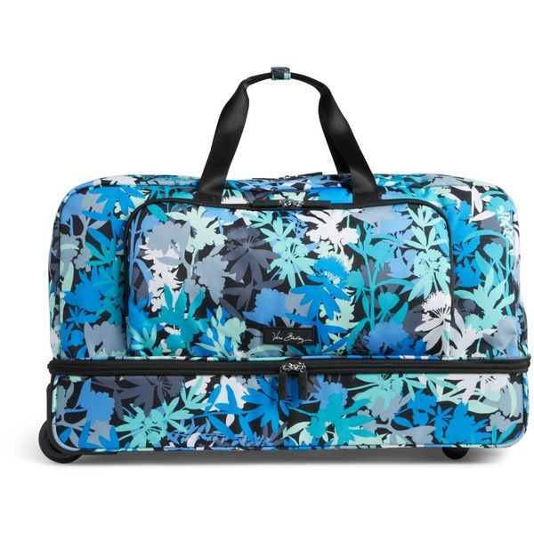 Vera Bradley Lighten Up Large Wheeled Duffel Bag in Camofloral ($228) ❤ liked on Polyvore featuring bags, luggage and camofloral