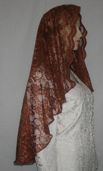 Copper Untrimmed Lace Mantilla Veil