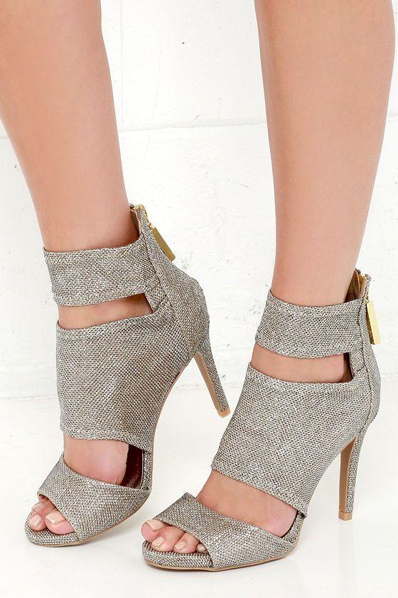 Sparkler Send Off Champagne Glitter Caged Heels at Lulus.com!