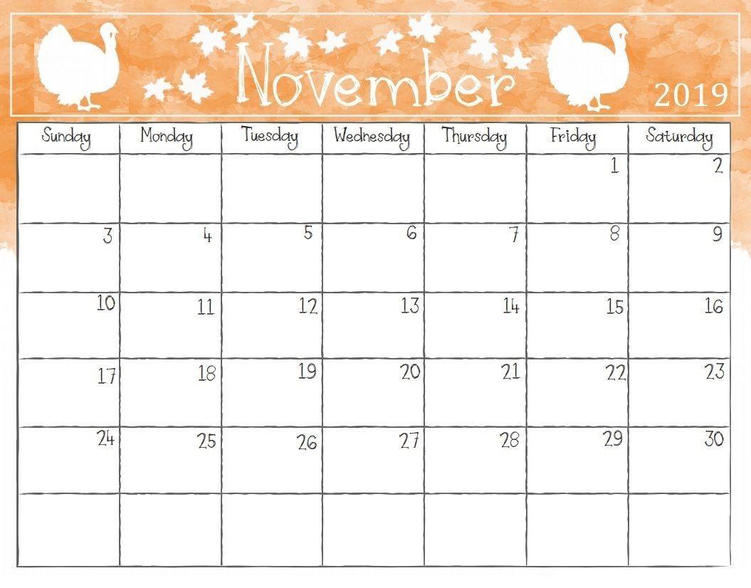 Cute November 2019 Calendar Printable Template Calendar