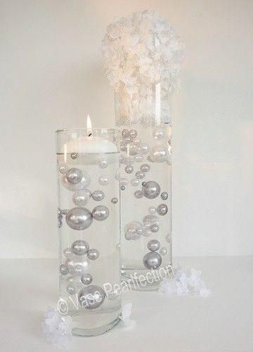 All Silver Pearlsgrey Pearls Jumbo Assorted Sizes Vase Fillers