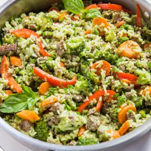 Photo of Basil Coconut Ground Beef Skillet with Vegetables and Rice