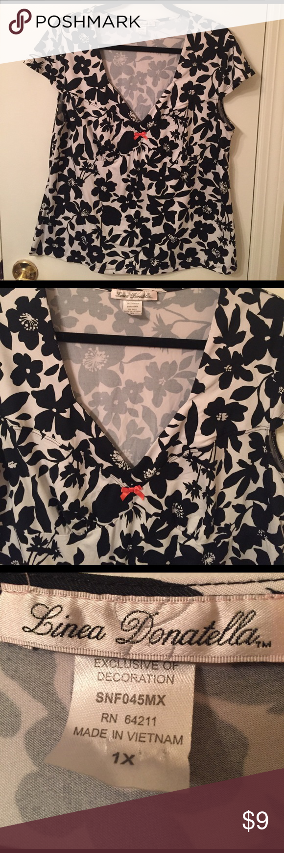Floral cap sleeve top Cap sleeve top with floral design. Good condition. I smoke and have cats Linea Donatella Tops
