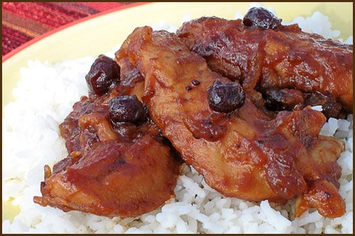 Cranberry Chicken - One bottle Catalina Drissing, 1 package dry onion soup mis, 1 can whole berry cranberry sauce, 6-8 boneless skinless chicken pieces. Bake at 350 for 1-1 1/2 hours.