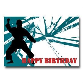 Happy Birthday Karate Block Postcard Karate Birthday Birthday Postcards Karate Birthday Invitations