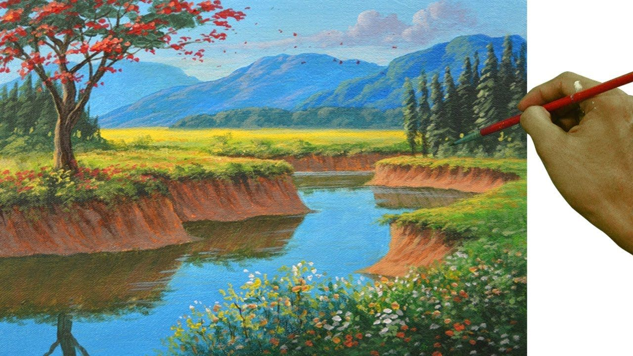Acrylic Painting Tutorial On How To Paint Basic To Realistic Landscape With Fire Tree Acrylic Painting Tutorials Landscape Painting Tutorial Painting Tutorial