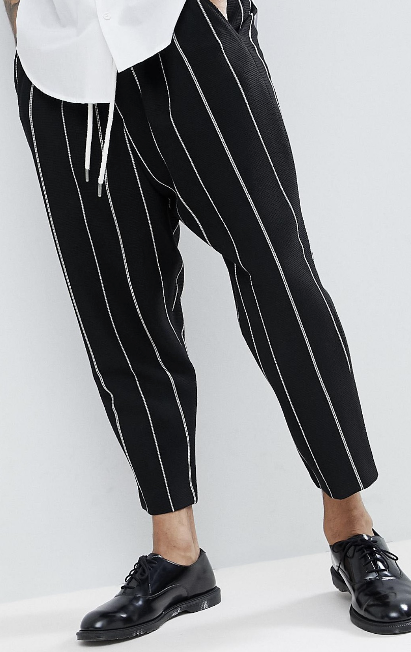eabf2c44c307 On my wish list   ASOS Drop Crotch Tapered Smart Trousers In Black Waffle  With White