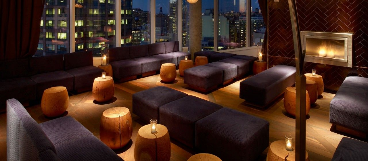 Jimmy Rooftop Bar Interior Design With Ventless Fireplace By NY Hearth Cabinet