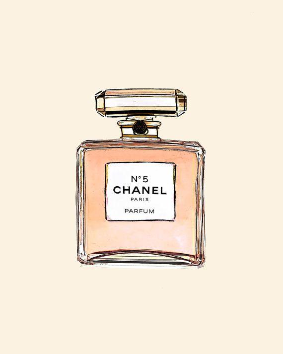 Chanel Handväskor : Chanel no perfume bottle watercolor art print