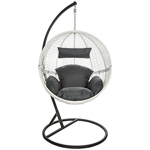 tectake garden swing chair with standing steel frame