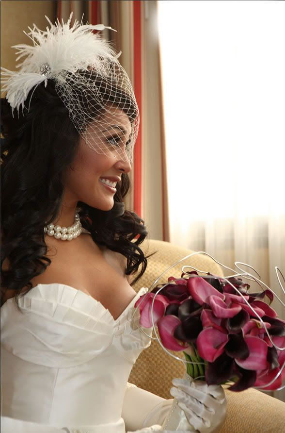 Bird Cage Veil With Sexy Curls Hairstyle