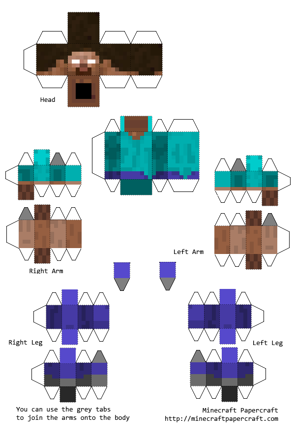Papercraft Minecraft Herobrine With Elbows And Knees Brinquedos