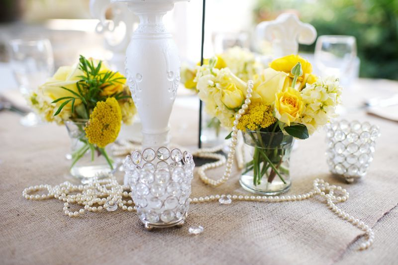 pearl draped centepieces