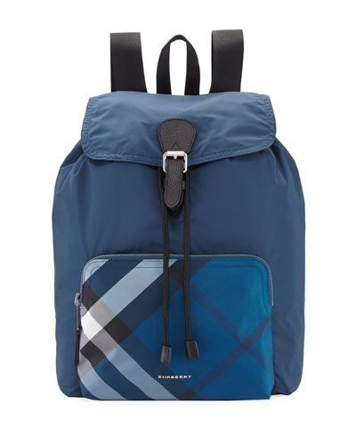 0387a16a701d8 BURBERRY Technical Nylon Packaway Rucksack With Check Trim