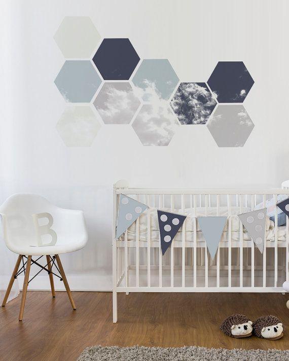 nursery wall decal removable geometric wall art soft blue | yoon-mo