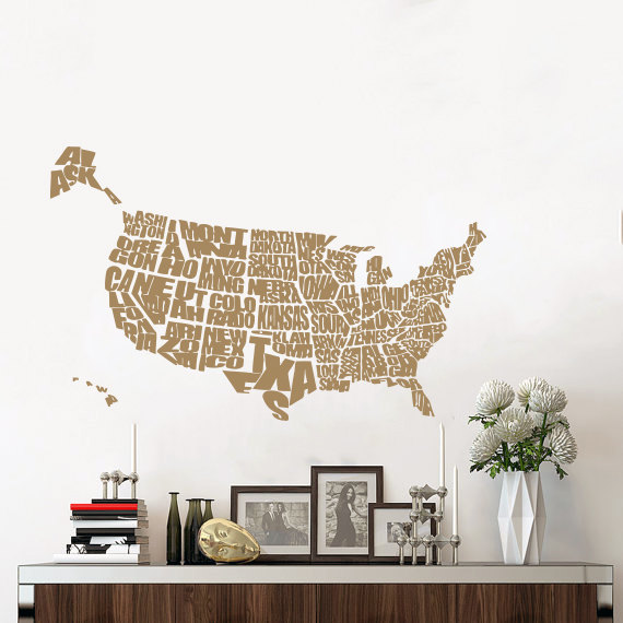 United States Map Wall Decal World Map Continents Vinyl Sticker ...