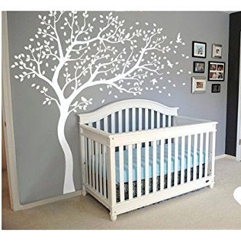 White Blossom Tree Wall Stickers With Flying Birds For Kid