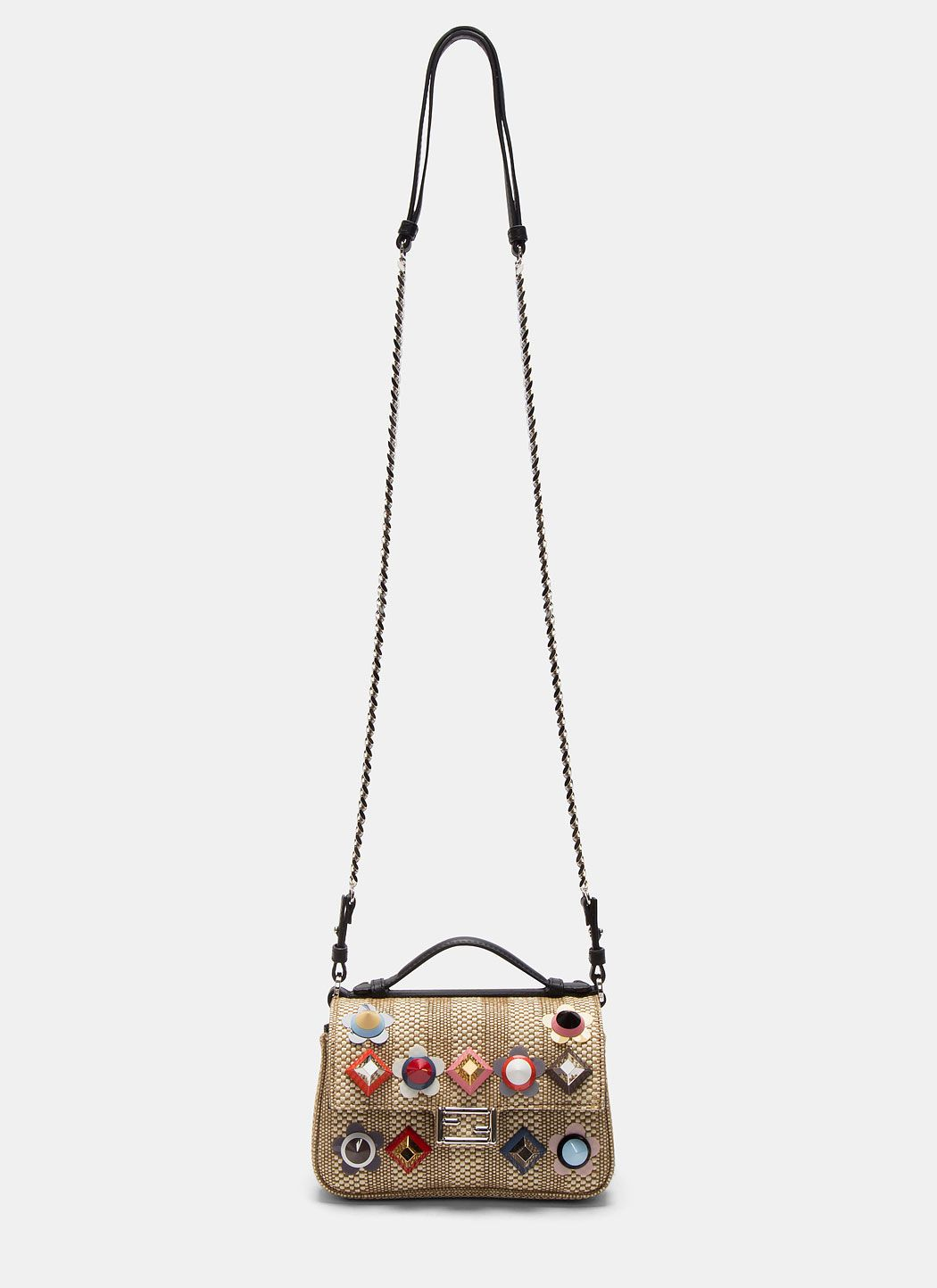 a161d17c5a3 FENDI Women s Micro Baguette Studded Double-Sided Straw Bag in Black and  Beige.  fendi  bags  shoulder bags  hand bags  leather