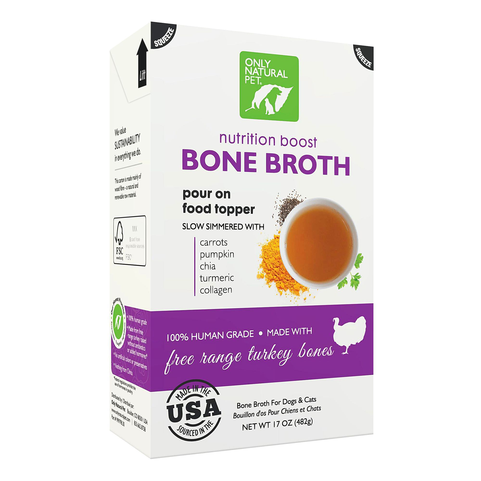 Only Natural Pet® Nutrition Boost Bone Broth Pet Food Topper - Free Range Turkey