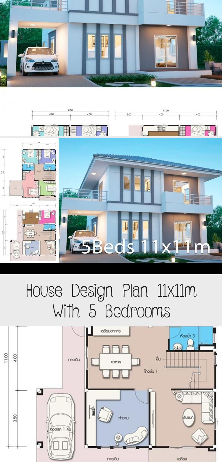 House Design Plan 11x11m With 5 Bedrooms Home Design With Plansearch Modernhousesentrance Modernhousesfron In 2020 Home Design Plans Dream House Plans House Design