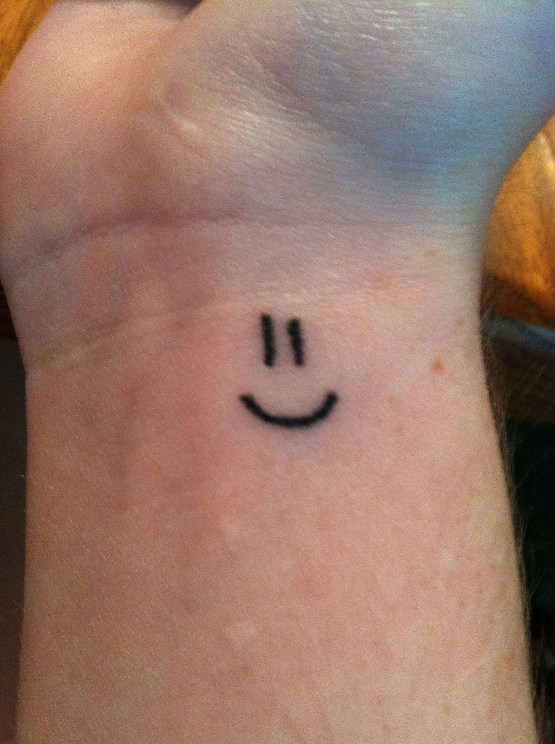 Smiley face Tattoo Smiley face tattoo, Smile face tattoo