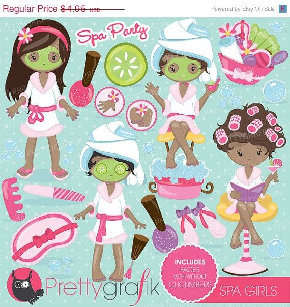 Spa Girls Party Clipart For Scrapbooking Commercial Use Vector