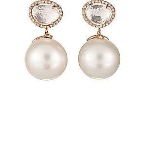 Womens Pearl & Diamond Drop Earrings Samira 13 00fdMY