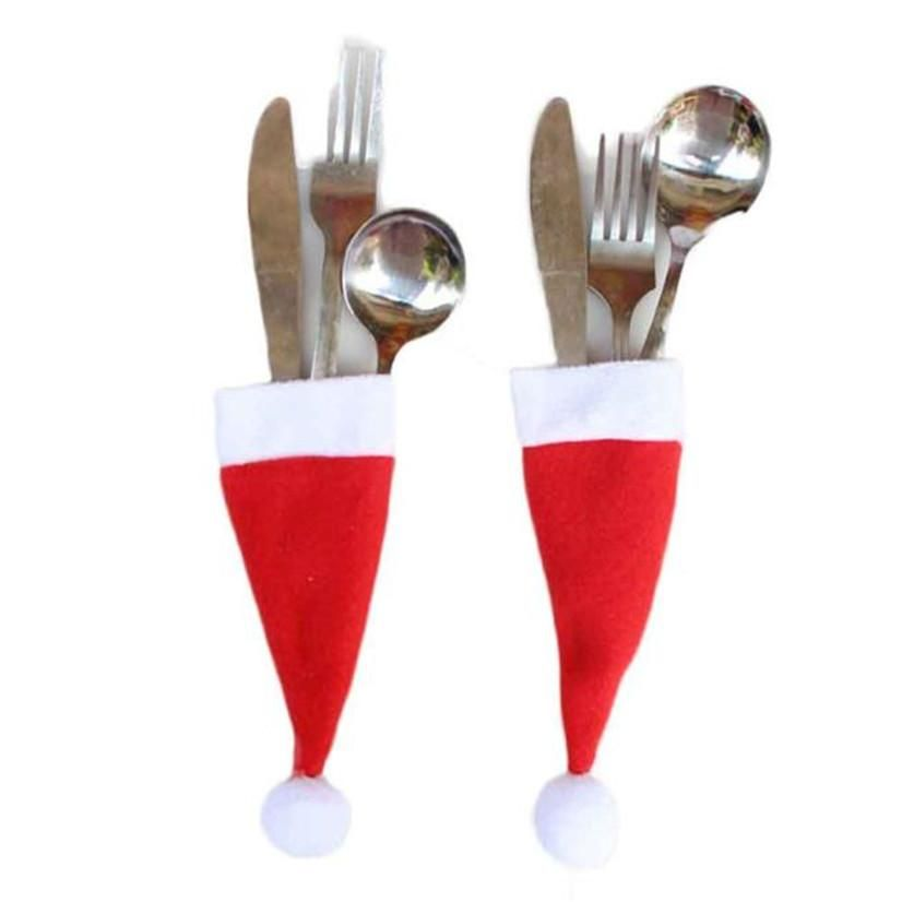 Christmas Utensil Holder Holiday Tableware Christmas Place Setting Silverware Holder Flatware H Christmas Tableware Xmas Table Decorations Holiday Tableware