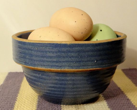 Vintage Blue Bowl  USA Cobalt Blue by RidleysRecycling on Etsy, $38.00