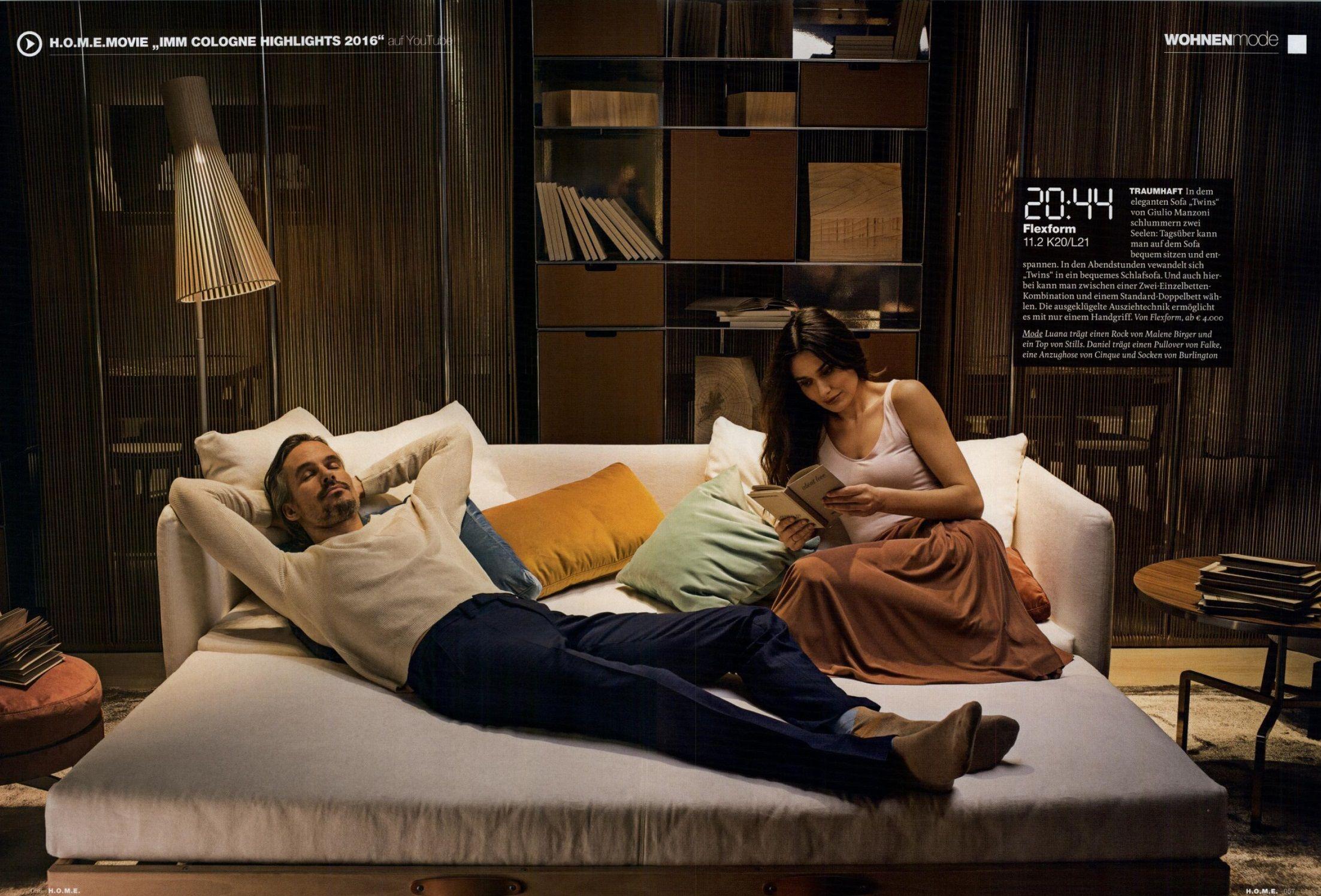 #FLEXFORM new TWINS #sofabed #design Giulio Manzoni on H.O.M.E. magazine, Germany march issue.