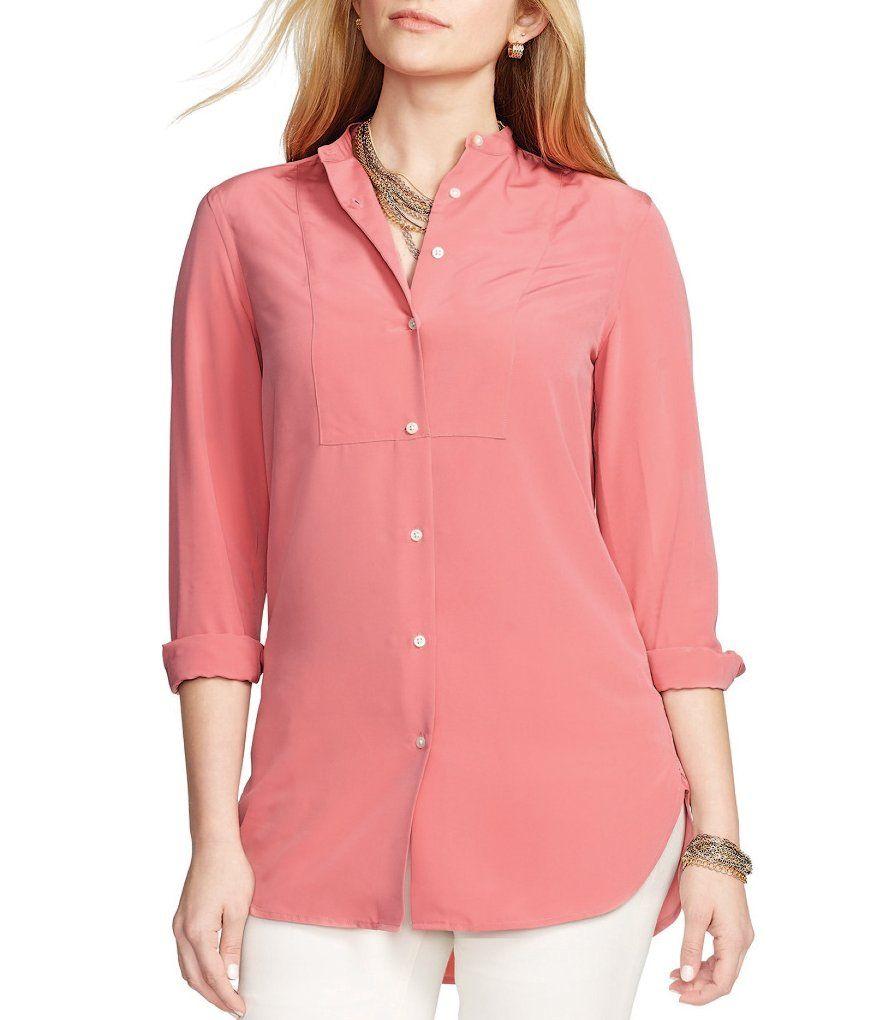 Lauren Ralph Lauren Plus Bib-Front Crepe Shirt