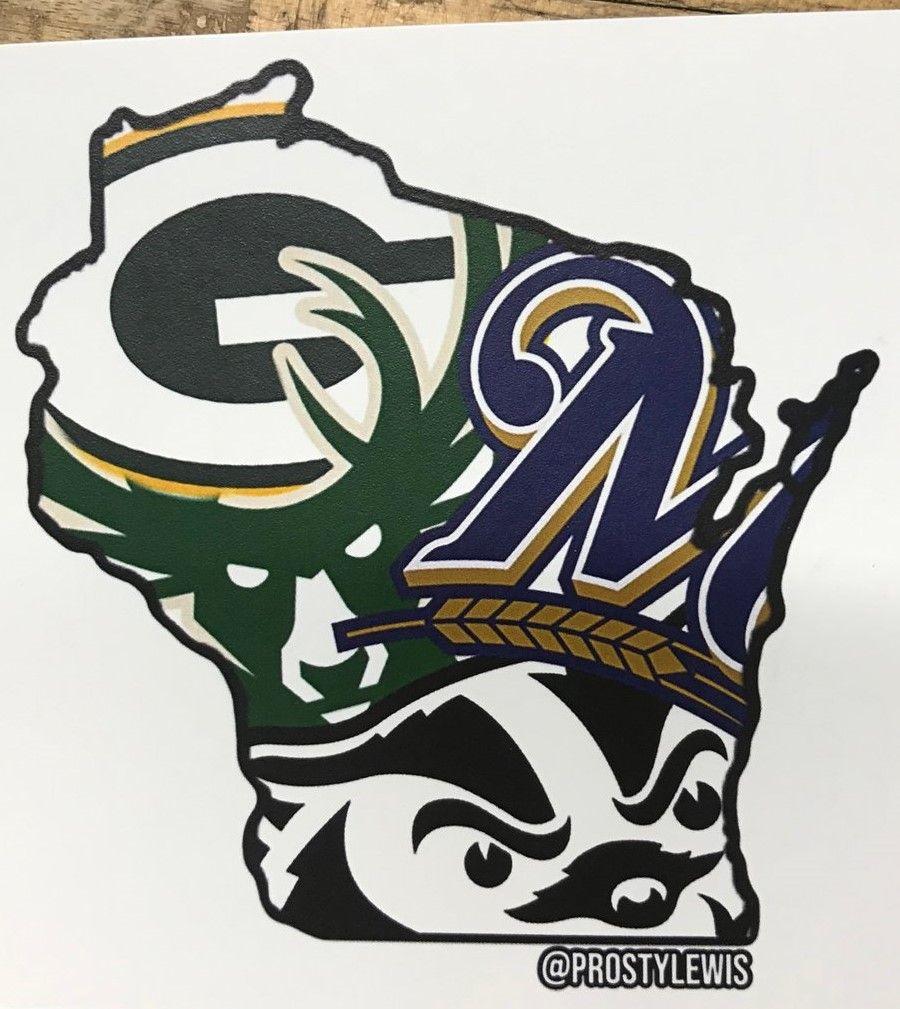 Wisconsin Sports Mashup Vinyl Decal Sticker Badgers Bucks Brewers Packers In 2020 Vinyl Decals Vinyl Decal Stickers Vinyl